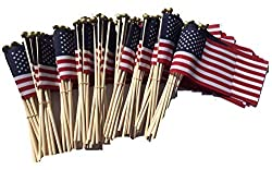 top 10 american flags WINDSTRONG Lot-100-4 x 6 inch USA American hand flag with ballpoint pen Made in USA