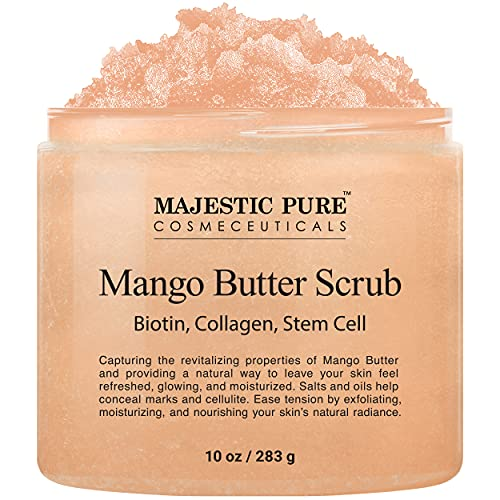 Majestic Pure Mango Butter Body Scrub with Biotin, Collagen and Stem Cell, Exfoliating Salt Scrub to Exfoliate & Moisturize Skin, Deep Cleansing - 10 oz