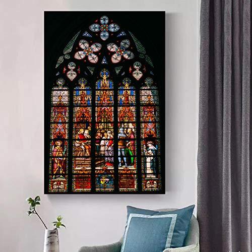 CHMIJ Lienzo Pintura Iglesia vitral Techo Imagen Pared Arte Carteles Impresiones religión Cristiana construcción Ventana decoración 50x70cm sin Marco