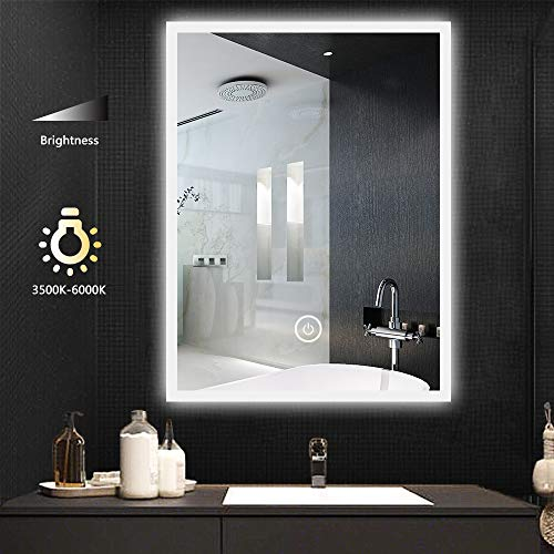 LITZEE 50x70cm Espejo de Baño con Luces, Montaje en Pared LED, Espejo de Tocador con Enchufe para Maquillaje,Luz Blanca/Blanca Cálida