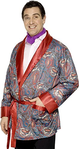 Mens Paisley Smoking Jacket Hugh Hefner Playboy Robe Outfit Fancy Dress Costume