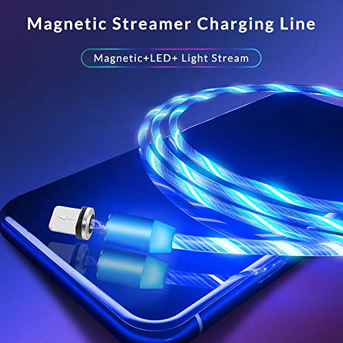 Kyerivs Magnetisches Ladekabel mit Sichtbar fließendem LED Licht Micro USB Ladekabel Typ C Lighting Schnelle Aufladung 3 in 1 Kabel kompatibel für Phone, Samsung Galaxy Huawei und Mehr No Sync Data