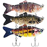 Masllutn Fishing Lures for Freshwater, Lifelike Artificial Bass Lures Multi Jointed Swimbaits with Stronger Treble Hooks Slow Sinking Bass Fishing Kit, Pack of 3 (6 Segment-3 Pack)