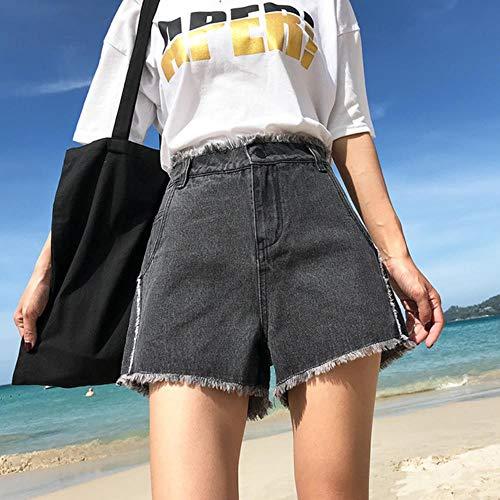 JKFXMN Plus Size Damen JeansshortsBreites BeinSommer Loose High Waisted Jean Shorts Schwarze Shorts Jeans Für Damen, Schwarz, 25