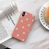ZTOFERA Carcasa trasera de TPU para iPhone 7 Plus/iPhone 8 Plus, diseño de margaritas mate suave TPU Funda delgada ligera protectora para iPhone 7 Plus/8 Plus, color rosa