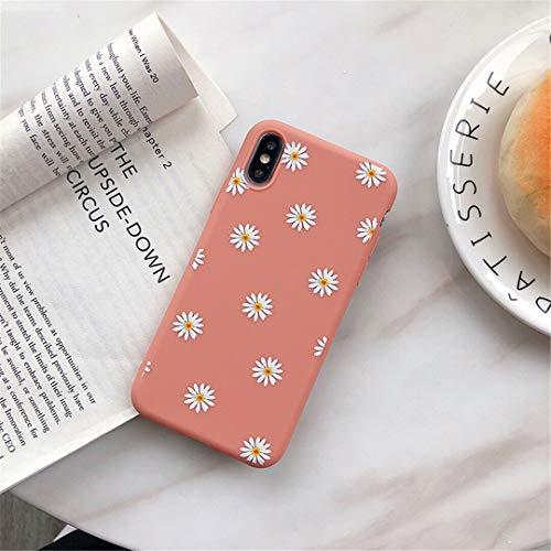 ZTOFERA Hülle für iPhone X/iPhone XS, Gänseblümchen Blume Design Schlank Hülle, Weich Flexibel Anti-Kratzer Bumper Schutzhülle für iPhone X/XS - Rosa