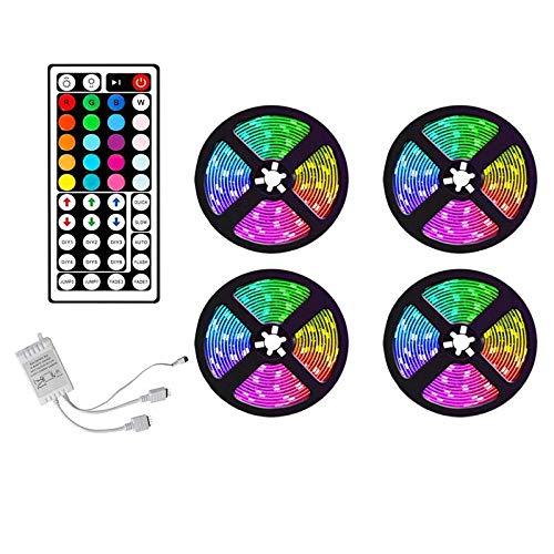 Haudang Tira de luces LED RGB de 20 m, cambio de color de sincronización de música, para decoración del hogar, fiesta, tira de luces con mando a distancia