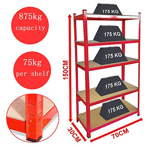 Red Metal 5 Tier Garage Shelves Shelving Unit Racking Storage 150x70x30cm Perfect for Garage Storage Bookstore Room Wall 175kg per Shelf,875kgs Capacity Garage shed Storage Shelving