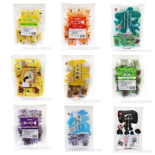 メガ盛り黒糖9種セット 琉球黒糖 くろくろとう ミント 塩 生姜 シークヮーサー キャラメル パイン マンゴ ブルーベリー 約650個 約3.7KG入り