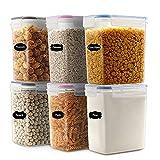 JUCJET 1.6L Recipientes para Cereales Almacenamiento de Alimentos, Jarras de Almacenamiento de Plástico con Tapa Hermética Sin BPA,Juego de 6 + 12 Etiquetas, para Cereales, Pasta, Harina (3 Colores)
