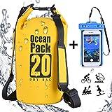 DINOKA 20L/30L bolsa seca impermeable, Bolsas estancas con caja de teléfono impermeable gratis,dry bag wateproof para rafting kayak esquí pesca escalada camping 20L