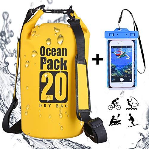 DINOKA Borsa Impermeabile, Sacca Impermeabile da 10L/20L/30L, Kit Impermeabile con Zaino Dry Bag, Waterproof Phone Case Perfetto per Kayak, Canottaggio, Pesca, Rafting, Nuoto, Camping, Snowboarding