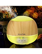 InnooCare 500ML Essential Oil Diffuser, Wood Grain Aromatherapy Diffuser, Ultrasonic Cool Mist Humidifier with 7 Color Changing LED Lights and Timer Settings, Waterless Auto off