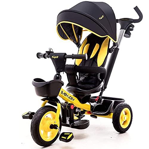 LINZI TRIKES TRIKINE, Tricycle NIÑOS TRIFER 7 en 1 con Cerradura de Pedal y Ruedas silenciosas, Caber de 9 Meses a 6 años (Color: Amarillo)