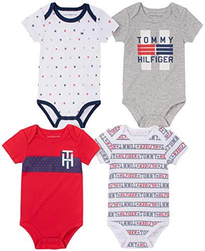 Tommy Hilfiger Boys' 4 Pieces Pack Bodysuits, LT Grey...