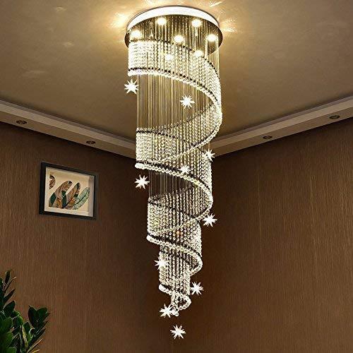 Saint Mossi Modern K9 Crystal Swirl Design Raindrop Chandelier Lighting Flush Mount LED Ceiling Light Fixture Pendant Lamp for Dining Room Bathroom Bedroom Livingroom 7 GU10 Bulbs D20'' X H70''