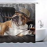 JOOCAR Design Duschvorhang, lustiger H&, niedliches Haustier, braune Bulldogge mit Zigarre & Champagner, schwarz, wasserdichter Stoff, Badezimmer-Dekor-Set mit Haken