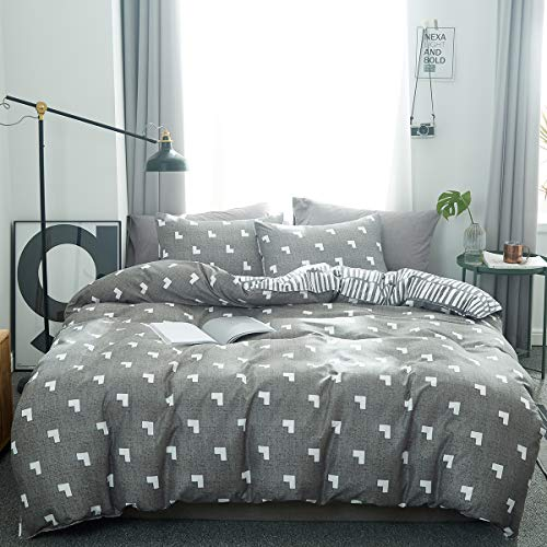 Uozzi Bedding 3 Pieces Gray L Pattern Queen Duvet Cover Set Hypoallergenic Polyester for Man Women Cute Adult (1 Duvet Cover+2 Pillow case) 800 TC Soft Comforter Cover with 4 Corner Ties