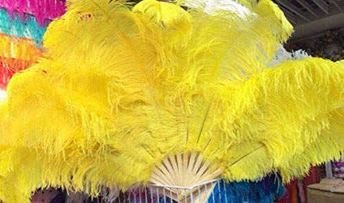 Big Ostrich Feathers Fan with Bamboo Staves for Belly Dance Halloween Party Ornament Decor Necessary, 12 Bones - Yeloow - Showgirl Feather Fans - Feather Fans Large