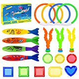 LET'S GO! Pool Toys for Kids Age 3-12 Diving Toys 19 Pieces Beach Toys for Kid Underwater Swimming Diving Pool Toy