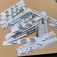 メルセデスベンツAMG C43 C63 C63S E43 E53 E63S S65L V12 V8 BITURBO 4MATIC +、クローム文字番号エンブレムカートランクフェンダーステッカー