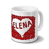 printplanet Tasse mit Namen Elena - Motiv Rosenherz - Namenstasse, Kaffeebecher, Mug, Becher, Kaffeetasse - Farbe Weiß