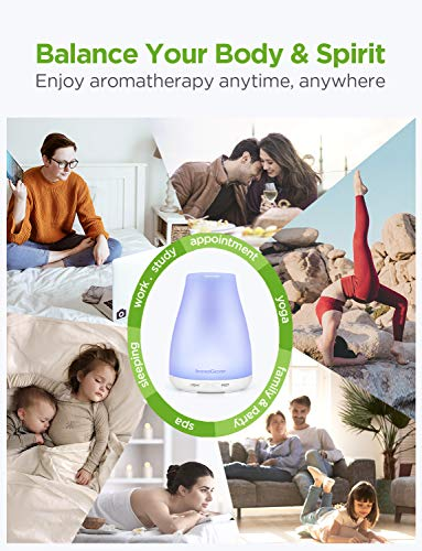InnoGear Upgraded Version Aromatherapy Essential Oil Diffuser Ultrasonic Diffusers Cool Mist Humidifier with 7 Colors LED Lights and Waterless Auto Shut-off for Home Office Bedroom Room