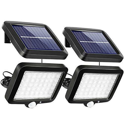 Solarlampen für Außen mit Bewegungsmelder, Boomersun 56 LED 3 Modi Solarleuchten Teilbare Wandlampe, IP65 Wasserdichte, 120° Superhelle Solarleuchten mit 16.5ft Kabel (2 Stk)