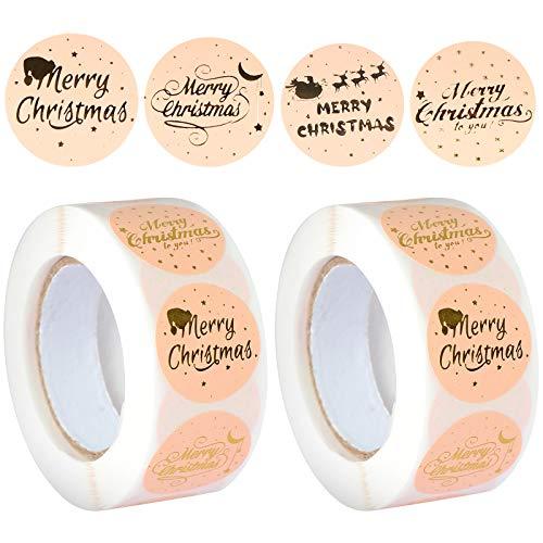 TsunNee 1000 pegatinas navideñas, pegatinas de agradecimiento, pegatinas autoadhesivas, pegatinas de sellado decorativas para fiestas, regalos empresariales, artesanías y decoración