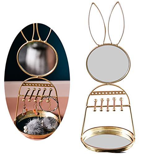 CHUN LING Bunny Vanity Mirror, Jewelry Box, Jewellery Storage Box 2Presentoir Colgante para joyería, 36 * 13cm, Oro, Usado para Anillos, Pulseras, Collares