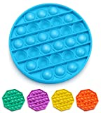Push Pop Bubble Fidget Sensory Toy, Fidget Toys for Kids Adults, Bubble Popper Fidget Toy Stress Anxiety Relief Toys for ADHD Autism Special Needs, Fidget Popper Stress Reliever Toys - Round Blue