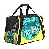 MEITD Transportador de mascotas de cara suave, aprobado por aerolínea, bolsa de viaje impermeable y plegable Flamingo