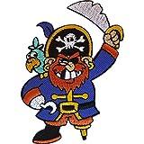 Parche de bordado o planchado, diseño de pirata con sombrero, espada, pata de palo, loro y garfio