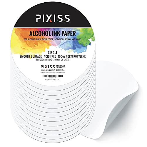 Alcohol Ink Paper for Alcohol Ink Art Painting - 25 Sheets Heavy Circle Round Art Paper for Alcohol Ink & Watercolor Paper, Synthetic Paper 8 Inches (203mm), 300gsm Cardstock