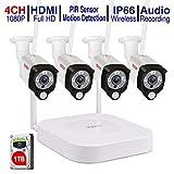 (Audio+PIR) Tonton 4CH 1080P Full HD Wireless NVR System Funk Überwachungsset mit Audioaufnahmemit 4 X 2.0MP WLAN Outdoor Außen IP Überwachungskamera, Kabellos, Tonaufnahme mit 1TB Seagate Festplatte