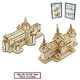 ギフトボックス木製ステレオ3Dパズルモデル国内外の有名な建築手作りクリエイティブギフト玩具(旧国会議事堂/バンコク山羊座十二玉座)
