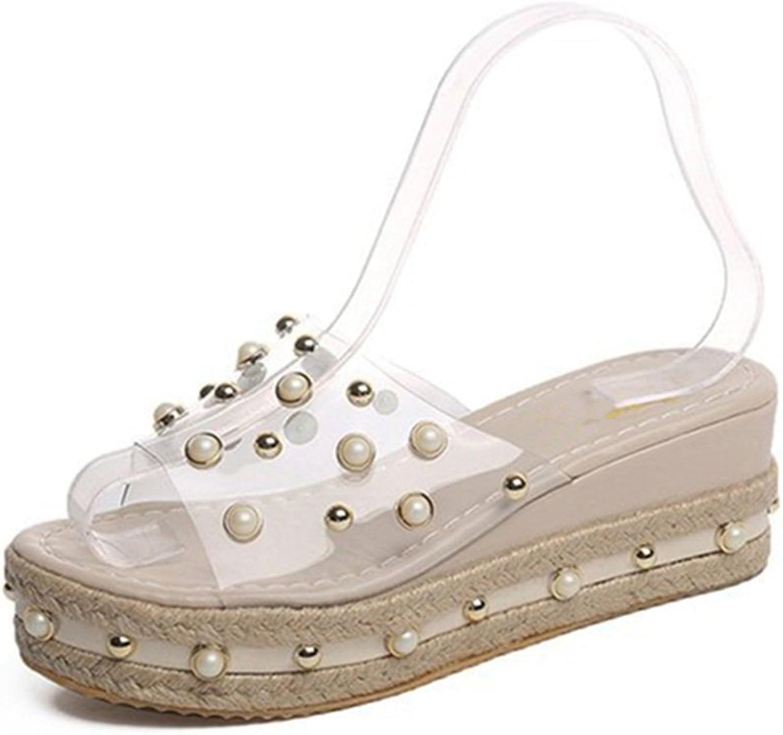 Giles Jones Flip Flops Sandals for Women,Casual Transparent Pearl Wedge Outdoor Beach Slipper shoes