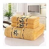 WSZMD Toalla Suave Toallas Fibra Bambú Conjunto Inicio Toallas Baño For Adultos Toalla Cara Gruesa Absorbente Lujo Baño Toallas Toalha Praia, Toallas Set (Color : Yellow, Size : 1pcs70x140cm)
