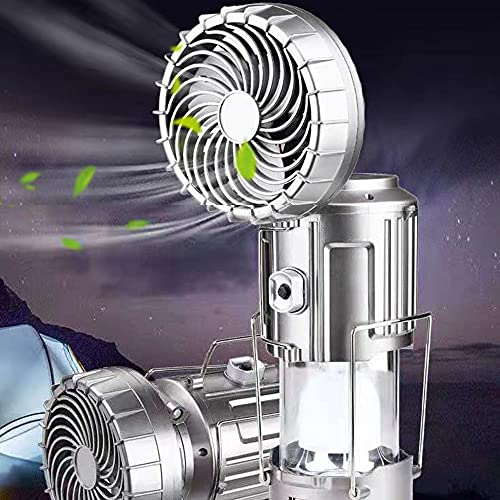 Outdoor Solar Lifting And Stretching Electric Fan Lamp, 6 in 1 Portable Outdoor LED Camping Lantern with Fan,Camping, Fishing, Hiking, Outdoor Tent Night Fishing Chandelier. (Silver upgrade Big)