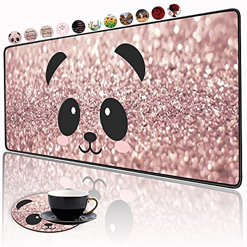 XXL Large Gaming Mouse Pad , Ergonomic Larger Extended Gaming Mouse Pad Non-Slip Rubber Base for Work Gaming Office Home Computer + Cup Coaster , Panda Face Rose Gold and Silver Glitter