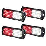 ASPL 4pcs Sync Feature 24-LED Surface Mount Flashing Strobe Lights for Truck Car Vehicle LED Mini Grille Light Head Emergency Beacon Hazard Warning lights (Red/White)