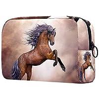 メイクアップバッグトイレタリーバッグ化粧品オーガナイザー女性用ジッパーポーチ動物の馬のファンタジー