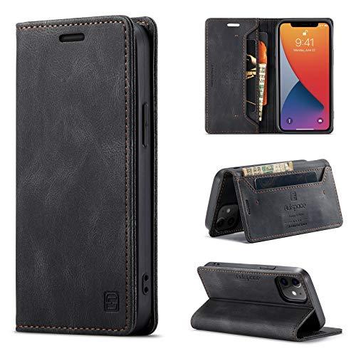 uslion Funda para iPhone 12 Mini RFID, funda protectora para teléfono móvil, tarjetero, billetera, cierre magnético, funda de piel para iPhone 12 Mini, color negro