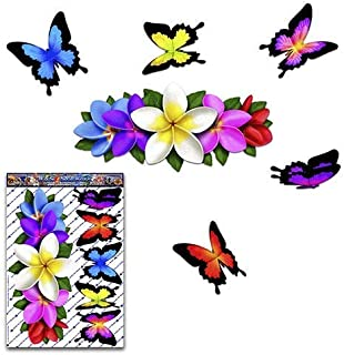Decor Purple // White Frangipani Centre Animal Vinyl Large Sticker Pack For Laptop Boats Bicycle Caravans ST046PL/_3 JAS Stickers/® FLOWER PLUMERIA BUTTERFLY Car Decals Trucks