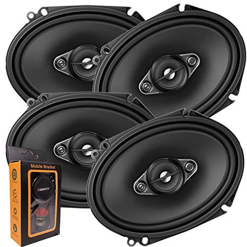 2 Pairs of Pioneer 5x7/ 6x8 Inch 4-Way 350 Watt Car Audio Speakers   TS-A6880F (4 Speakers) + Free Gravity Mobile Bracket Holder