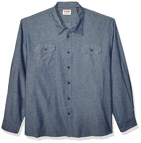 Wrangler Authentics Men's Long Sleeve Classic Woven Shirt, dark chambray, Medium