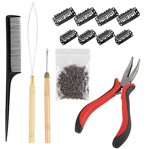 AirSMall 13tlg Haarverlängerung Set Microrings Extensions Nanoringe mit Zange Nadel Einfädler Ziehen Haken Schwarzeinschlag Clips Micro Silikon Ringe Einsatz für Haar oder Feder Verlängerungen