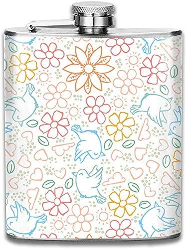Botella de vino coloreada del acero inoxidable de las flores y de los pájaros, regalo personalizado del frasco