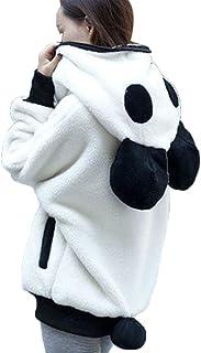 Ausexy Women Fashion Hoodies Cute Panda Ear Plush Winter Warm Hoodie Coat Daily Casual Zipper Jacket Lovely Animal Design ...