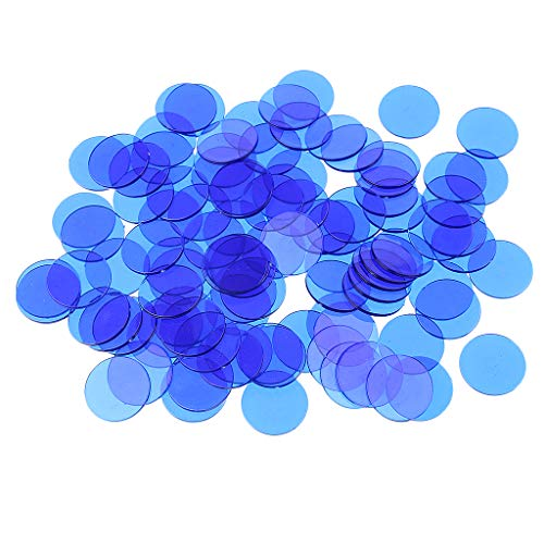 Bonarty Packung Mit 300 Bingo Chips (Mehrfarbig) 1,5 cm Durchscheinende Marker Für Bingo, Zähl Und Spielmarken, Chips Für Bingo Hallenspiele - Blau